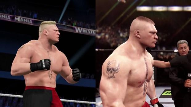 WWE 2K15'de Brock Lesnar, UFC grafikleriyle karşılaştırıldı
