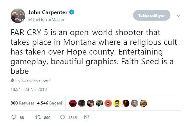 Ünlü yönetmen John Carpenter Far Cry 5'i oldukça beğenmiş