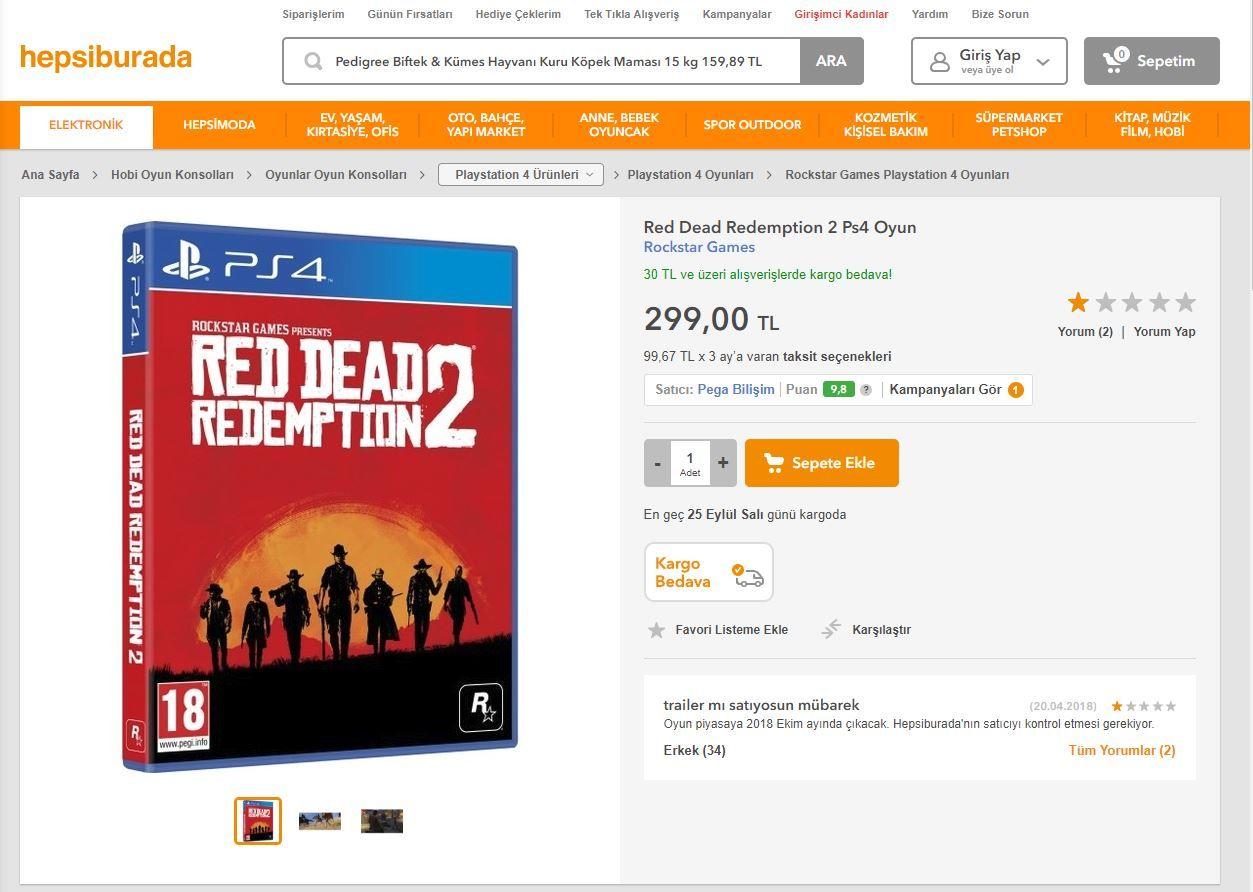 Red Dead Redemption 2, Hepsiburada'da satılmaya başlanmış