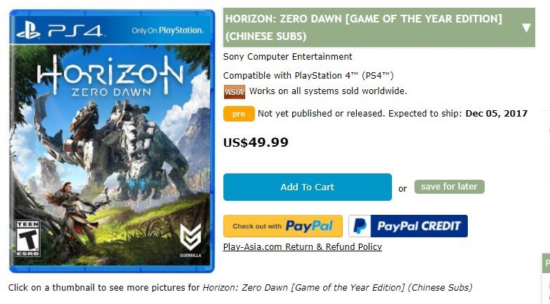 Horizon: Zero Dawn - Game of the Year Edition sızdırıldı