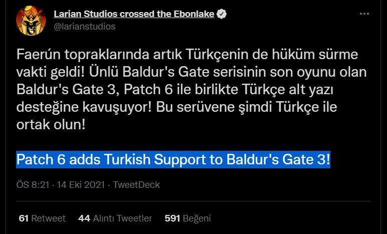 Baldur's Gate 3 Türkçe