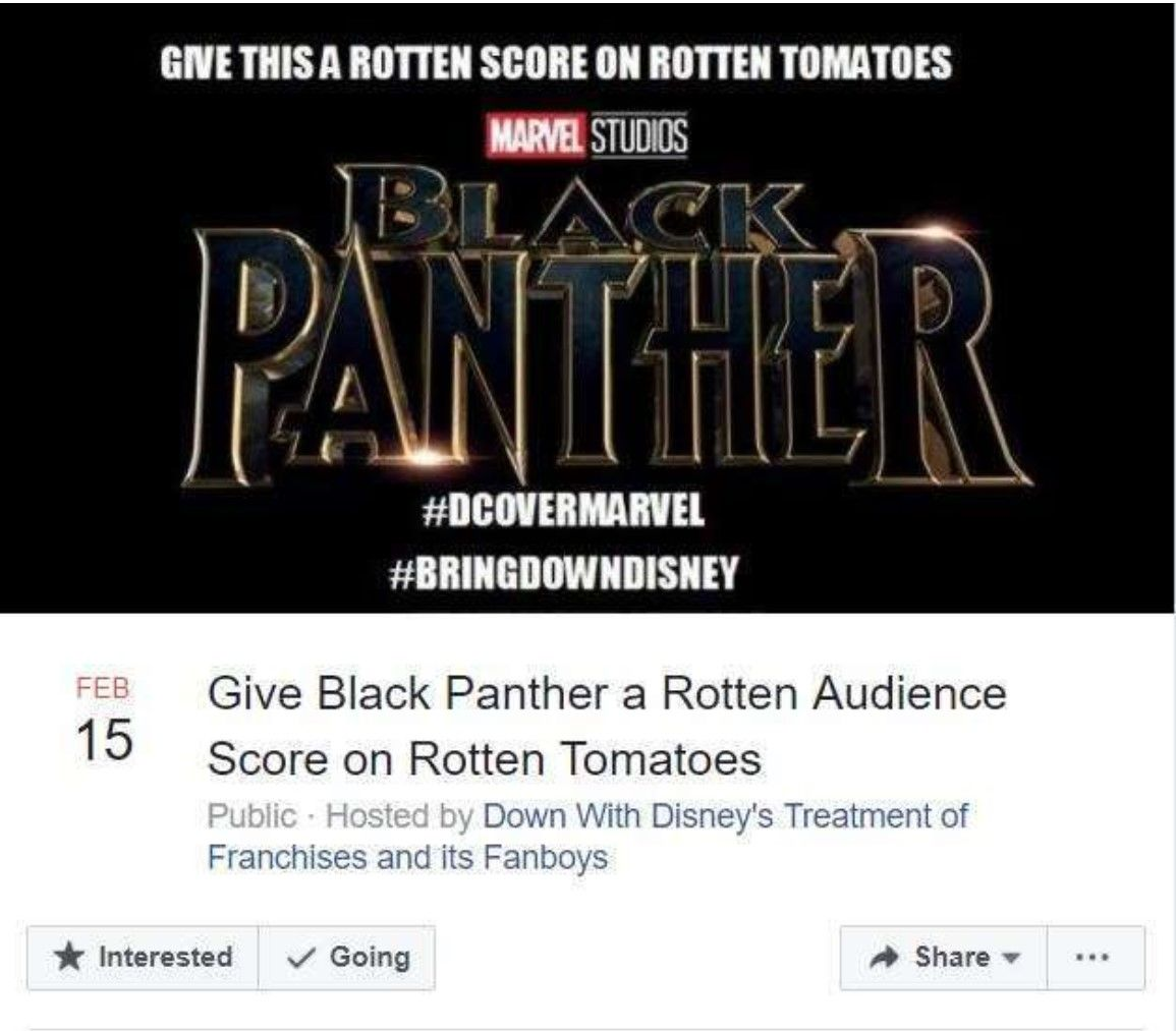 DC hayranları Black Panther filmini sabote etmek istiyor
