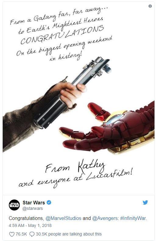 Çok çok uzak bir galaksiden, Infinity War'a tebrik mesajı