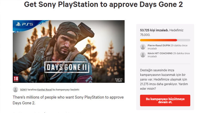 Days Gone 2 petition attracted a lot of attention