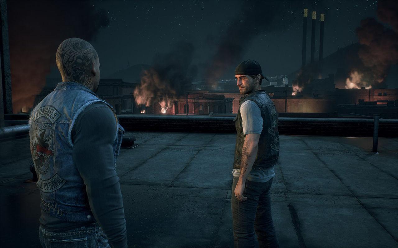 Days Gone PC sürümünde hikayenin girişindeki bir sinematiğin görüntüsü