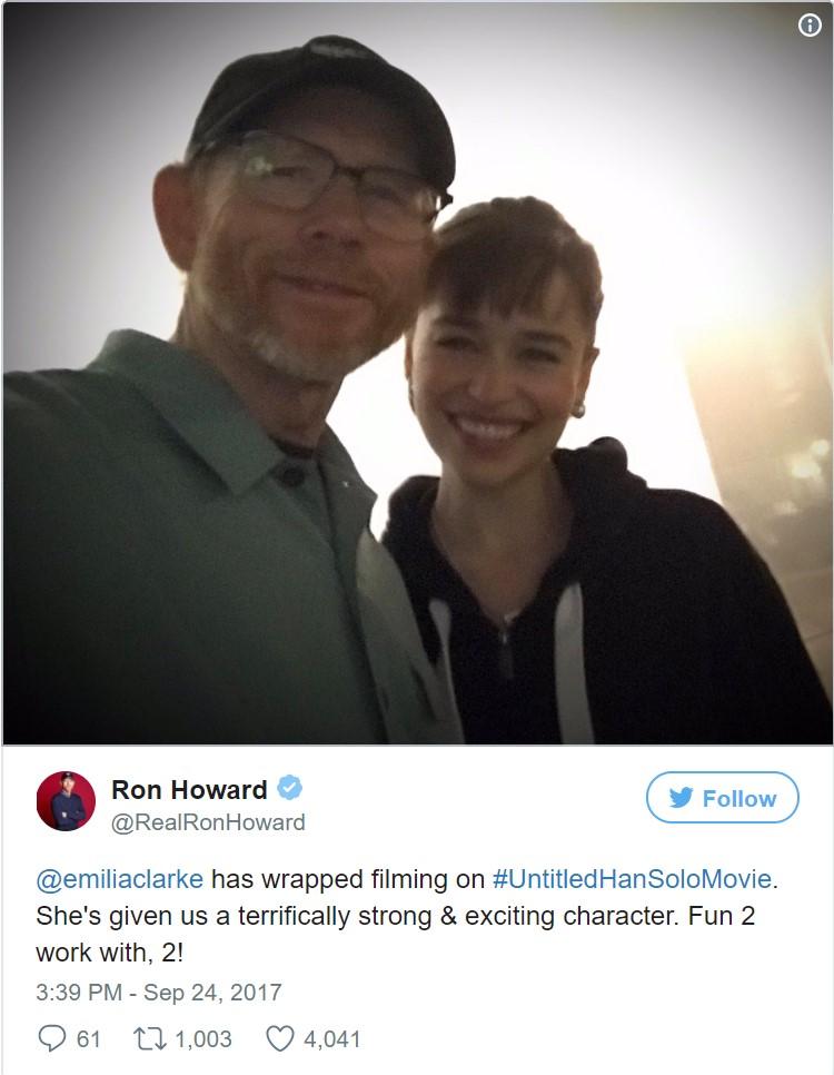 Emilia Clarke'ın Han Solo çekimleri tamamlandı