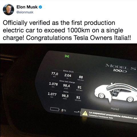 Tesla Model S tek şarjla 1000 KM gidiyor