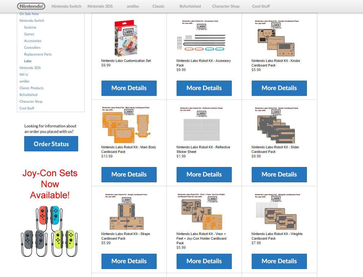 Nintendo Labo'nun karton parçaları ayrıca satın alınabilecek