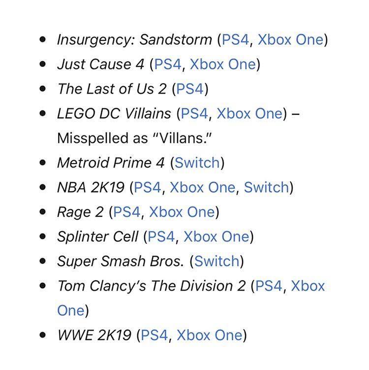 E3 2018 fuarında gösterilmesi muhtemel oyunlar sızdırıldı
