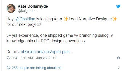 Obsidian Entertainment, daha şimdiden yeni oyunu üzerinde çalışıyor