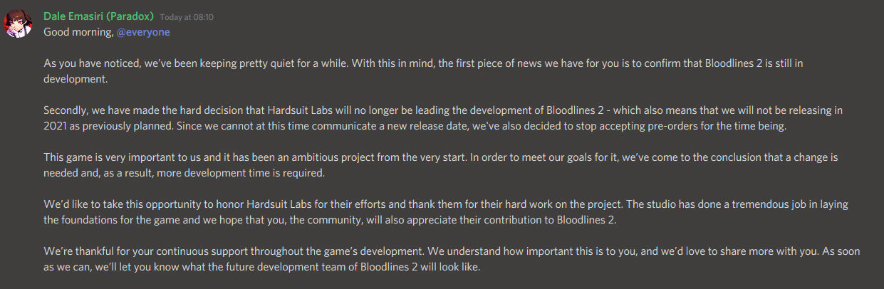 Vampire the Masquerade: Bloodlines 2 postponed, production team changed