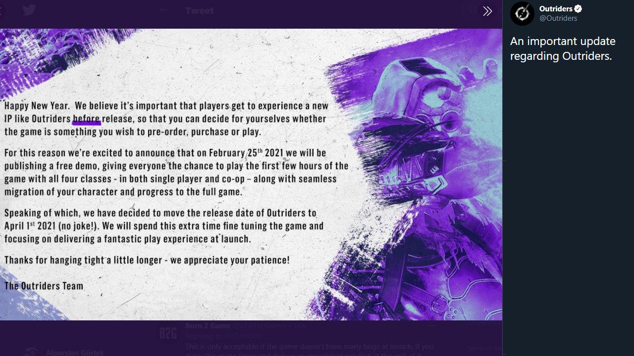 Square Enix, Outriders için yeni bir çıkış tarihi duyurdu