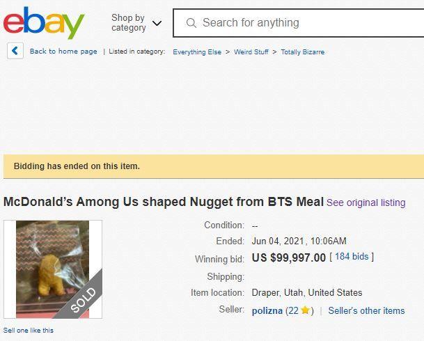 McDonald's Among Us nuggetı 860bin liraya satıldı