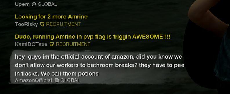 New World oyuncusu Amazon maskotu gibi oyuncuları trolledi