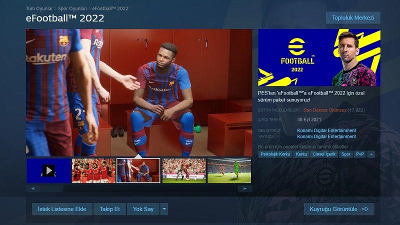 eFootball 2022, Steam'de 'psikolojik korku' etiketi aldı