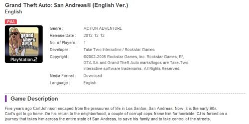 GTA: San Andreas PS3'e geliyor!