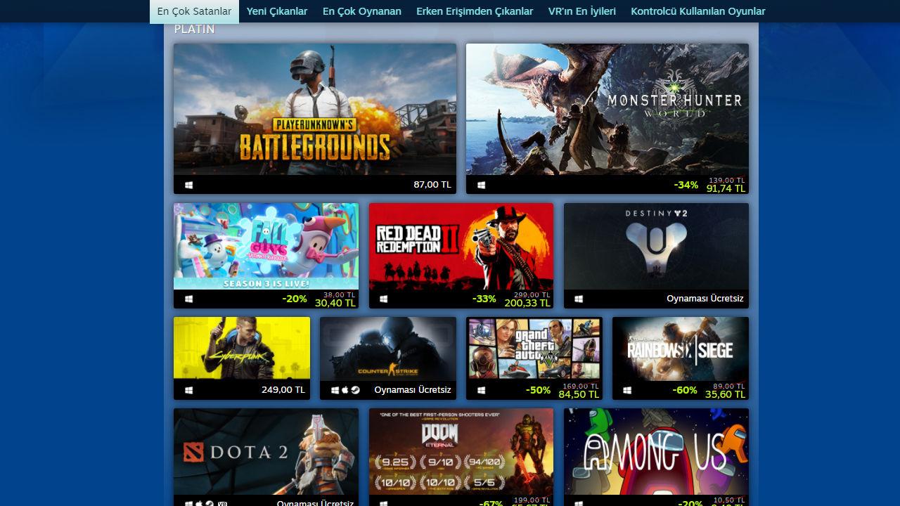 Steam'de bu yılın en çok satan ve oynanan oyunları