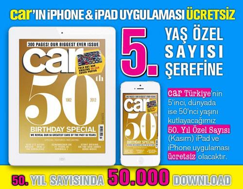Car Kasım sayısı iPhone ve iPad'lerde 5. yaş şerefine ücretsiz