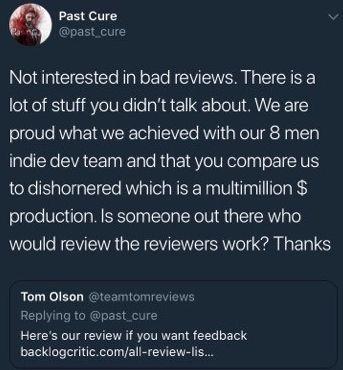 Past Cure'ün geliştiricisi kötü inceleme yazan editörü blokladı