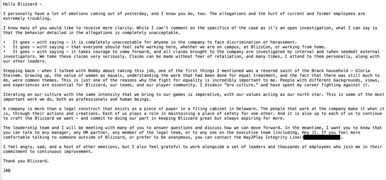 Activision-Blizzard yetkilileri taciz iddialarını ele aldılar
