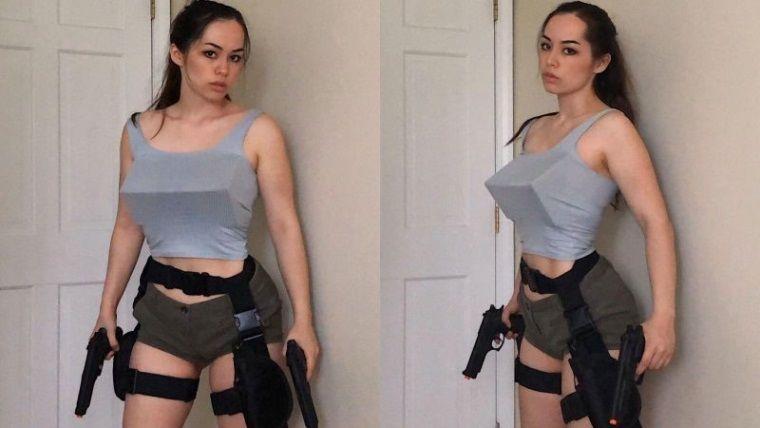 İç açıları toplamı 180 derece olan Tomb Raider cosplayi