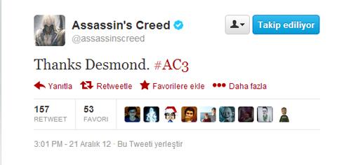 =SPOILER= Assassin's Creed 3'ten Desmond'a anlamlı bir Tweet =SPOILER=