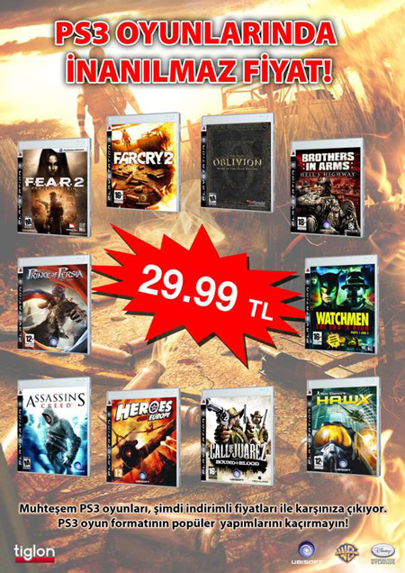 Tiglon'dan 29 TL'ye PlayStation 3 oyunları