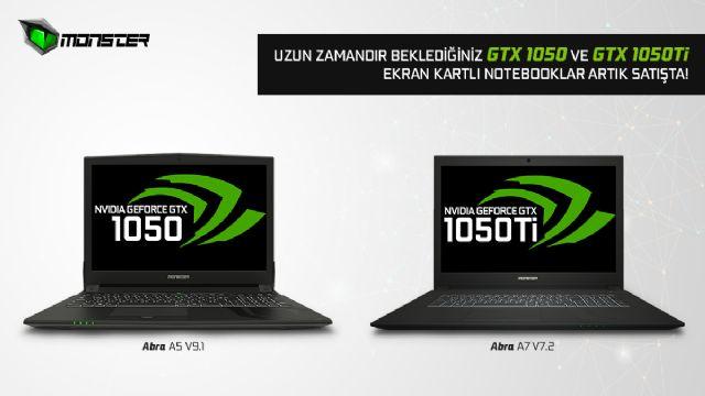 Monster'ın NVIDIA GTX 1050 ve GTX 1050Ti grafik kartlı yeni modelleri tanıtıldı
