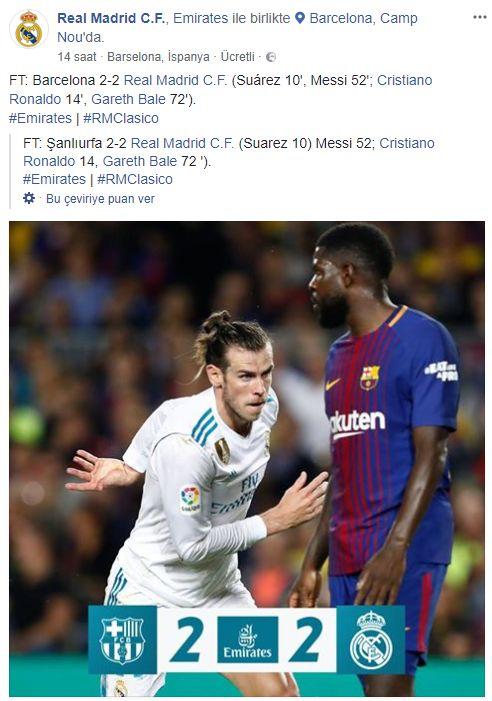 Facebook'a göre Real Madrid ve Şanlıurfa 2-2 beraber kaldı