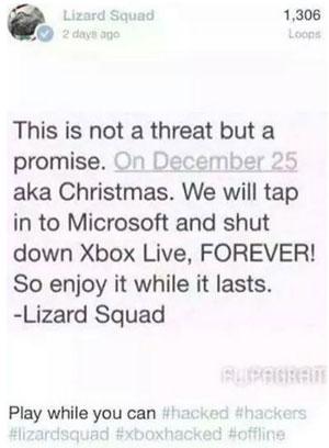 Lizard Squad, 25 Aralık'ta Xbox Live'ı kapatacağını iddia etti!