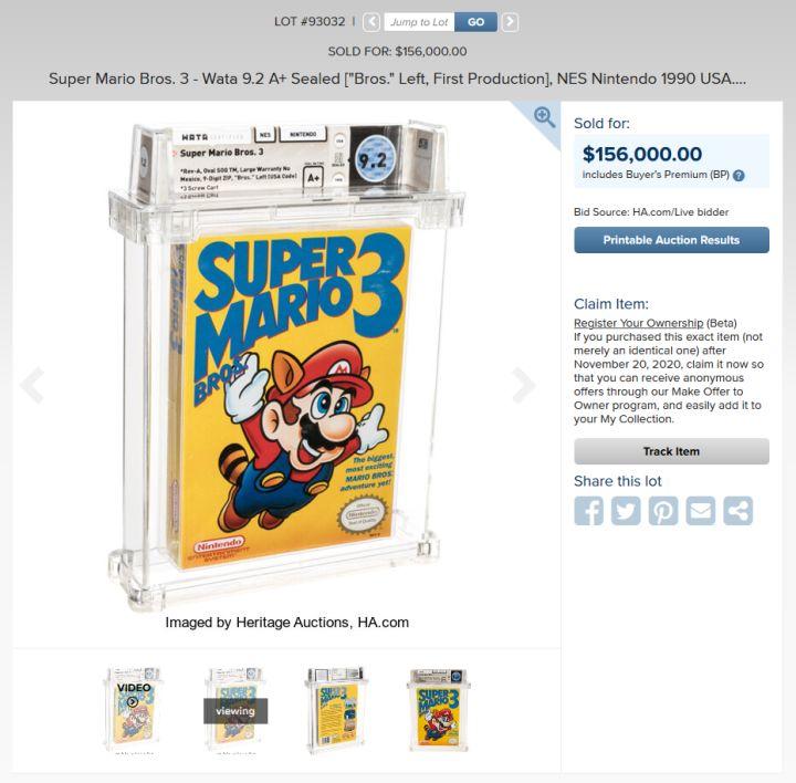 Super Mario Bros. 3 rekor fiyata satıldı
