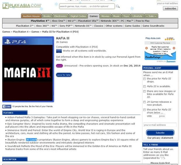 Mafia 3, Play-Asia online satış sitesinde ön siparişe açılıyor!