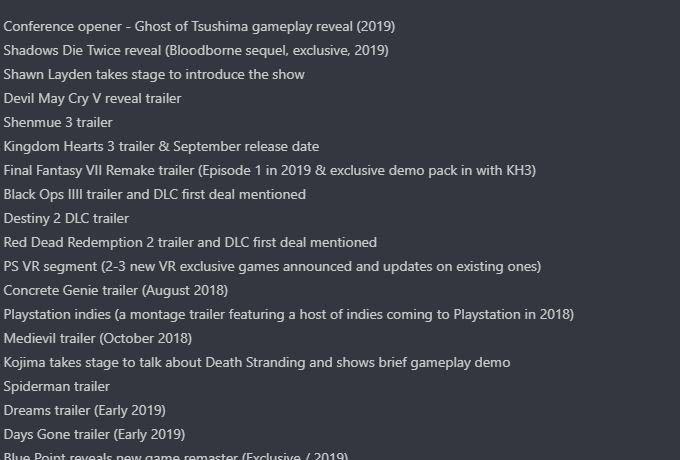 Sony'nin E3 2018 listesi sızdırıldı! Listede neler var neler!