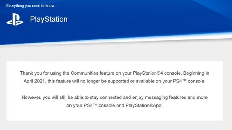 PlayStation Communities feature being removed