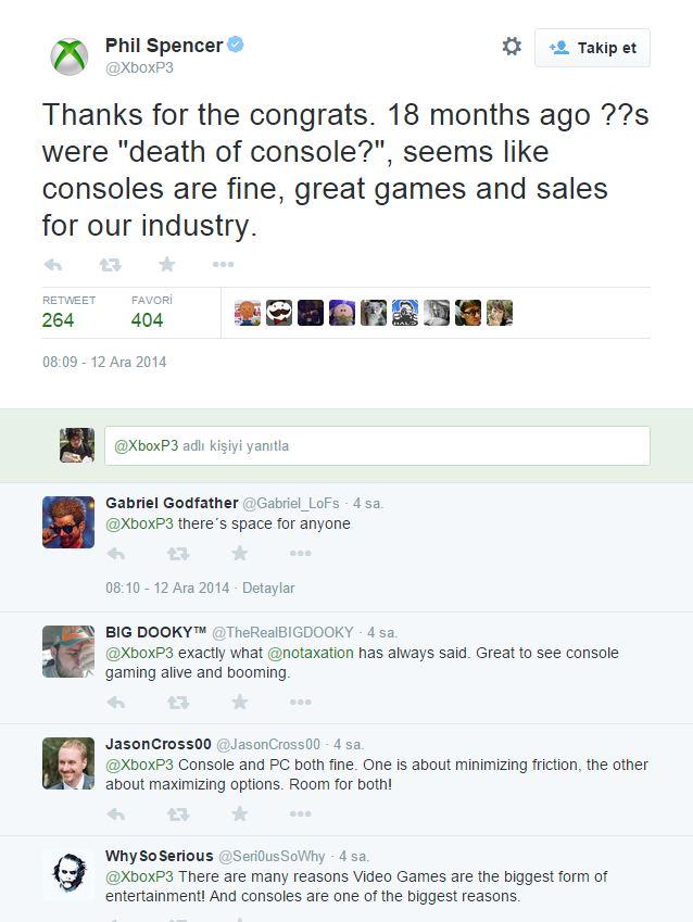Xbox'ın patronu Phil Spencer, tüm oyunculara teşekkür etti