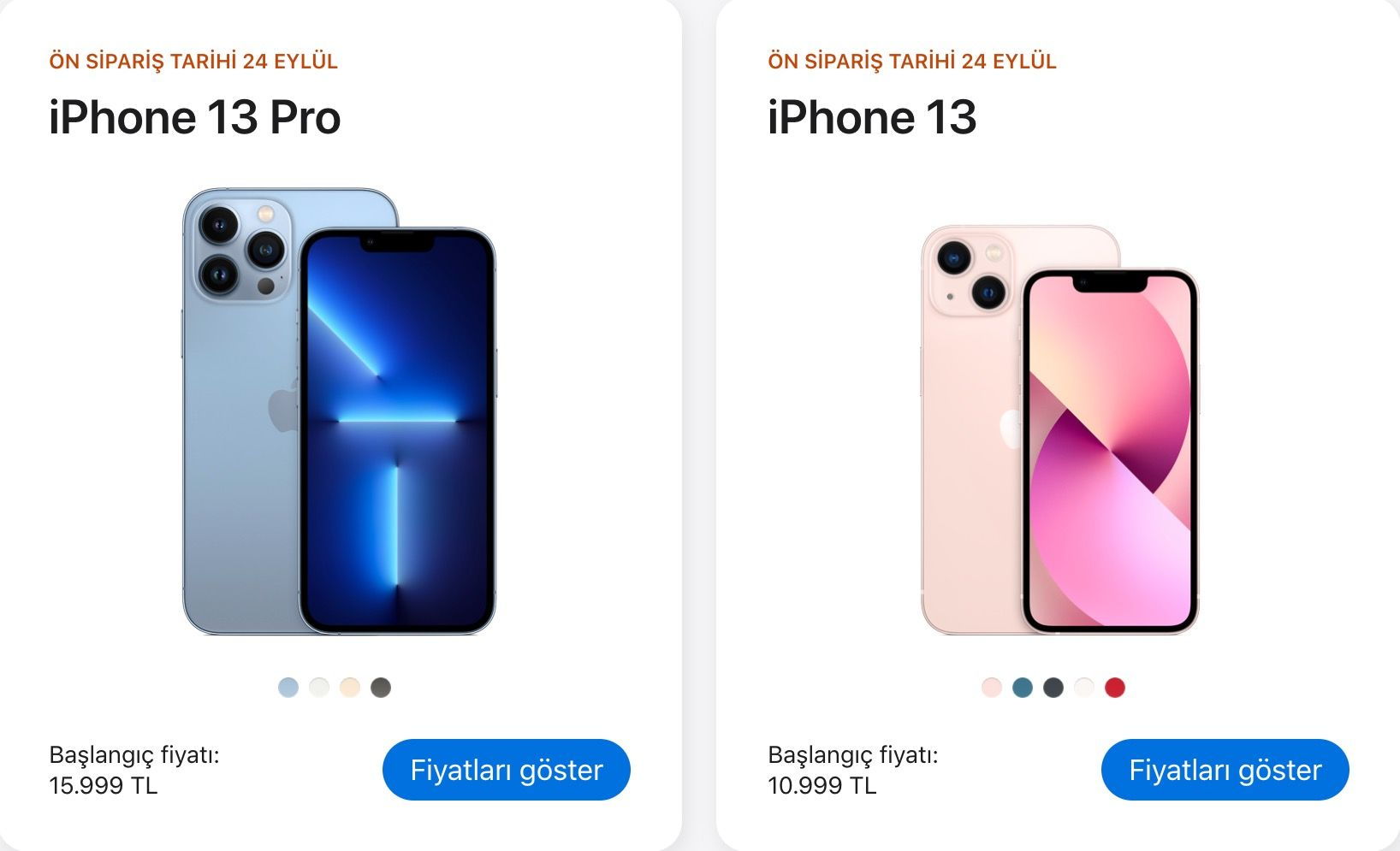 Apple iPhone 13 Turkey price, models and features