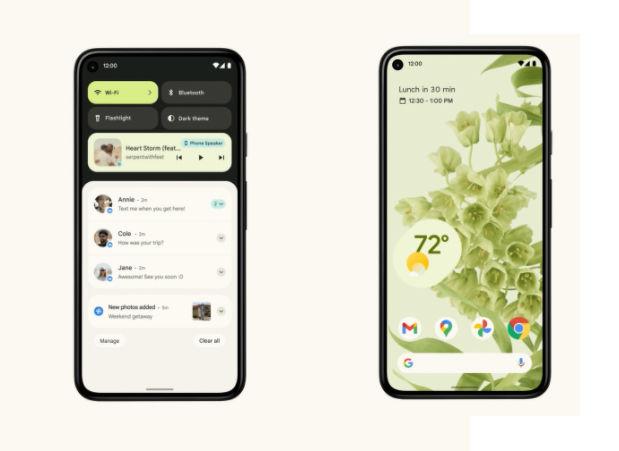 Android 12 bildirim ekranını gösteren bir görsel