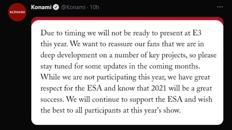 Konami E3 2021'den çekildiğini duyurdu