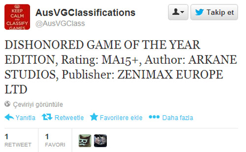 Dishonored Game of the Year Edition tespit edildi!