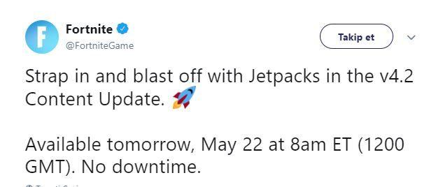 Fortnite Battle Royal'a sonunda beklenen Jetpack'ler eklendi