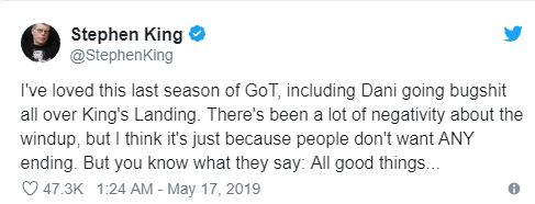 Ünlü yazar Stephen King'den Game of Thrones yorumu
