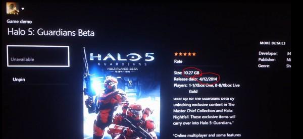 Halo 5: Guardians'ın beta sürümünün yükleme boyutu göründü