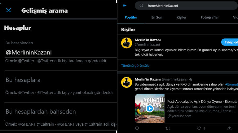 Use of Twitter advanced search