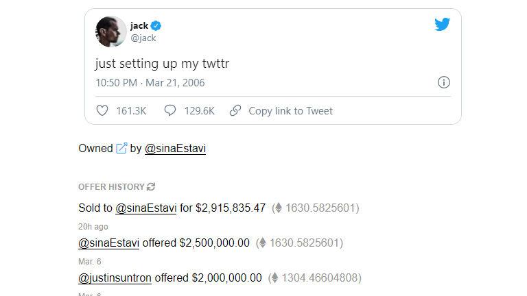 Sina Estavi paid $ 2.9 million for the first tweet