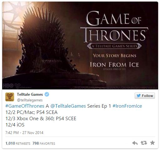 Game of Thrones'un oyunu Aralık'ın ilk haftası çıkıyor!